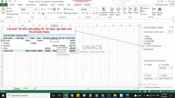 Update thêm nguồn dữ liệu mới cho pivottable 2